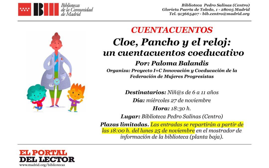 """Presentación del cuento coeducativo """"Cloe, Pancho y el reloj"""": 27 de noviembre."""